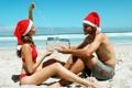 Картинка пляж, подарок, новый год, пара, парочка, отношения