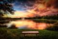 Картинка закат, лес, фонтан, glow, озеро, sunset, зарево