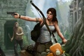 Картинка девушка, мужик, мотоцикл, Tomb Raider, бандит, крофт, лара