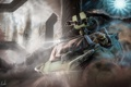 Картинка колонны, пыль, halo 4, машина, арт, человек, оружие