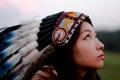 Картинка девушка, перья, азиатка, головной убор