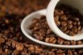 Картинка макро, кофе, чашка, блюдце, зёрна