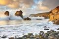 Картинка море, волны, камни, скалы, Морской пейзаж