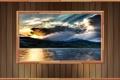 Картинка облака, пейзаж, река, стена, дерево, скалы, берег