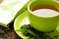 Картинка листья, чай, кружка, напиток, блюдце, пакетик, зелёный чай