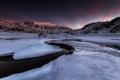 Картинка зима, снег, горы, природа, река, рассвет