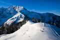Картинка небо, снег, горы, следы