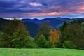 Картинка осень, лес, закат, природа, холмы, пейзажи, autumn hill
