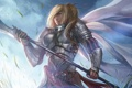 Картинка воин, девушка, броня, арт, меч, рыцарь