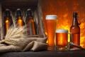 Картинка пена, бокал, пиво, колоски, кружка, бутылки, ящик