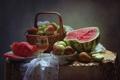 Картинка корзина, яблоки, бокал, арбуз, натюрморт, груши