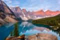 Картинка лес, небо, деревья, горы, озеро, скалы