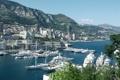 Картинка горы, яхты, порт, панорама, залив, Monaco, Монако