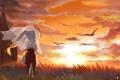 Картинка море, девушка, закат, птицы, vocaloid, hatsune miku, вокалоид