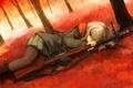 Картинка девушка, оружие, аниме, шарф, арт, нож, форма
