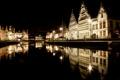 Картинка ночь, огни, отражение, дома, канал, фасад, Belgium