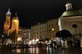 Картинка огни, люди, вечер, Польша, Краков, церковь Святого Адальберта, Мариацкий костел