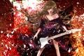 Картинка гитара, Девушка, пояс, кимоно, длинные волосы