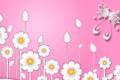 Картинка цветы, фантастика, бабочка, ромашки, вектор