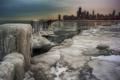 Картинка лед, зима, город, Чикаго, США, Chicago, illinois