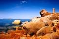 Картинка море, небо, камни, скалы, маяк, остров, башня