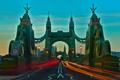 Картинка ночь, огни, Англия, Лондон, трассы, Hammersmith Bridge