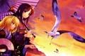 Картинка закат, птицы, зонтик, девушки, чайки, зонт, арт