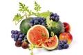 Картинка красный, ягоды, яблоки, арбуз, виноград, белый фон, фрукты