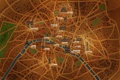 Картинка город, река, Франция, Париж, дороги, карта, сердца