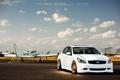 Картинка Nissan, white, самолёт, ниссан, Skyline, взлётная полоса, скайлайн. белый