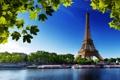 Картинка деревья, город, река, фото, Париж, Эйфелева башня