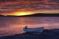 Картинка море, закат, побережье, лодка