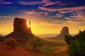 Картинка долина монументов, облака, пустыня, рассвет, юта, лучи