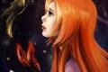 Картинка девушка, бабочка, арт, профиль, рыжая
