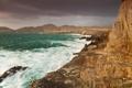 Картинка скалы, небо, горы, шторм, тучи, море
