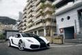 Картинка Lamborghini, white, gallardo, road, sky, hotel