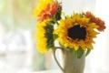 Картинка sunflowers, подсолнухи, bouquet, букет, цветы, flowers, ваза