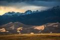 Картинка облака, поле, горы, снег, гроза, дюны