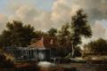 Картинка небо, деревья, пейзаж, дом, река, картина, мельница