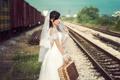 Картинка железная дорога, девушка, настроение, стиль