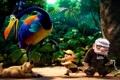 Картинка лес, птица, мультфильм, собака, мальчик, старик, Pixar