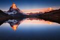 Картинка небо, закат, горы, озеро, отражение