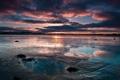 Картинка небо, вода, облака, закат, вечер
