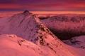 Картинка небо, облака, снег, горы, вершина, зарево