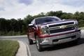 Картинка Черешня, Chevrolet, Дорога, Бордовый, Передок, Silverado, Пикап