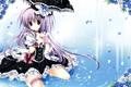 Картинка цветы, зонт, платье, арт, девочка, бантики, korie riko