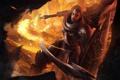 Картинка огонь, Diablo III, щит, Reaper of Souls, мужчина, оружие