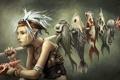 Картинка девушка, эльф, рыба, ракушка, арт, осьминог, уши