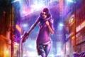Картинка девушка, город, пистолет, дождь, улица, art, cyberpunk