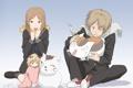 Картинка кот, девушка, аниме, арт, снеговик, парень, madara